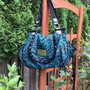 "Betseyville aqua black print bag  straps 11"" hang"